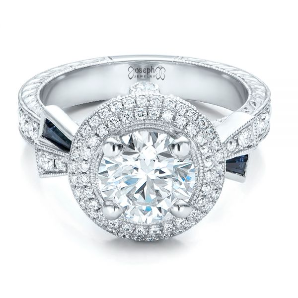 Platinum Custom Diamond Halo And Blue Sapphire Engagement Ring - Flat View -