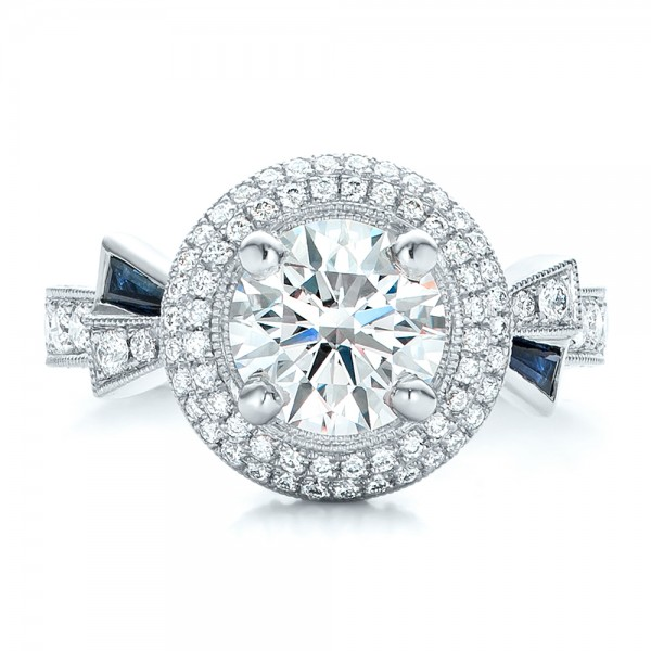 Custom Diamond Halo and Blue Sapphire Engagement Ring - Top View