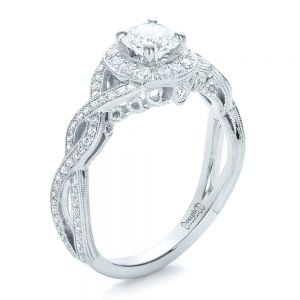 Custom Diamond Halo and Filigree Engagement Ring - Image