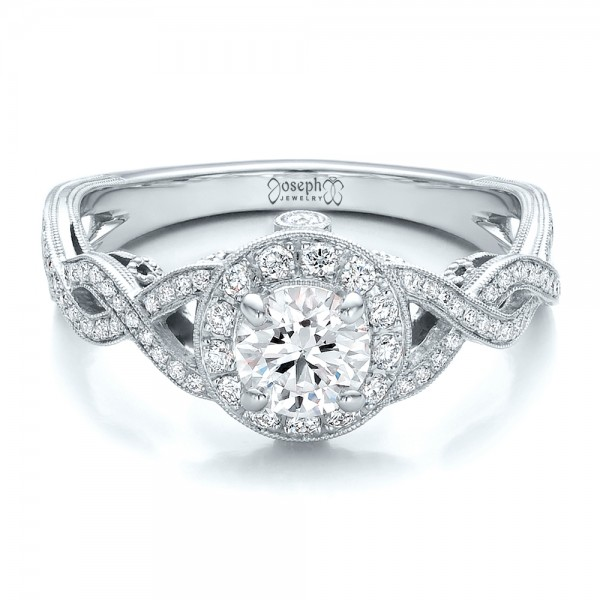 Custom Diamond Halo and Filigree Engagement Ring