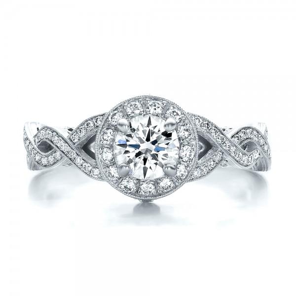 custom diamond halo and filigree engagement ring top view - Filigree Wedding Rings