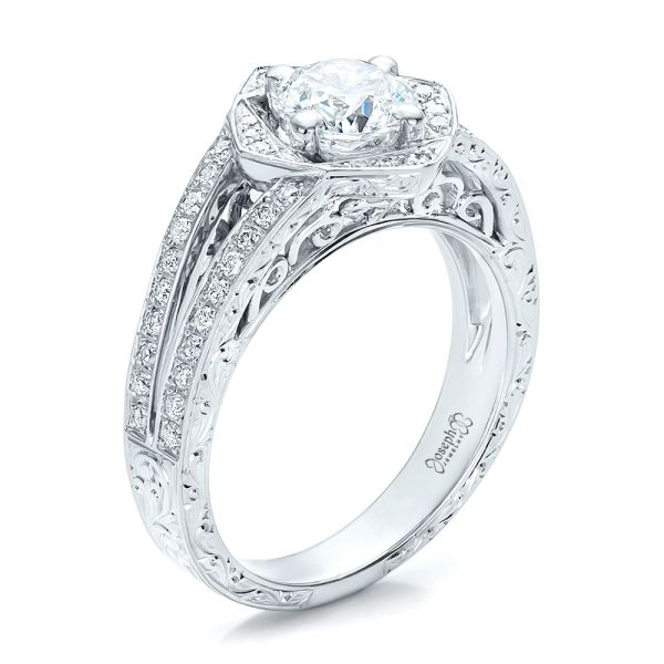 Engagement Rings In Which Hand: Custom Antique Hand Engraved Diamond Solitaire Engagement