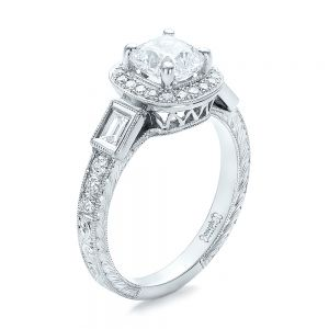 Custom Diamond Halo and Hand Engraved Engagement Ring - Image
