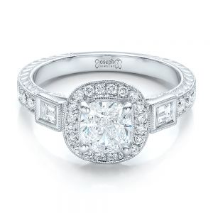 Custom Diamond Halo and Hand Engraved Engagement Ring