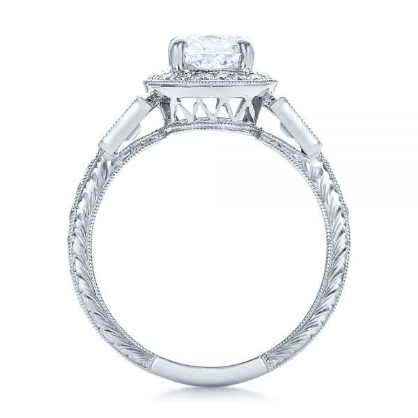14k White Gold Custom Diamond Halo And Hand Engraved Engagement Ring - Front View -