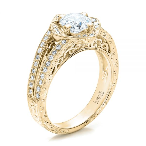 18k Yellow Gold 18k Yellow Gold Custom Diamond Halo And Hand Engraved Engagement Ring - Three-Quarter View -