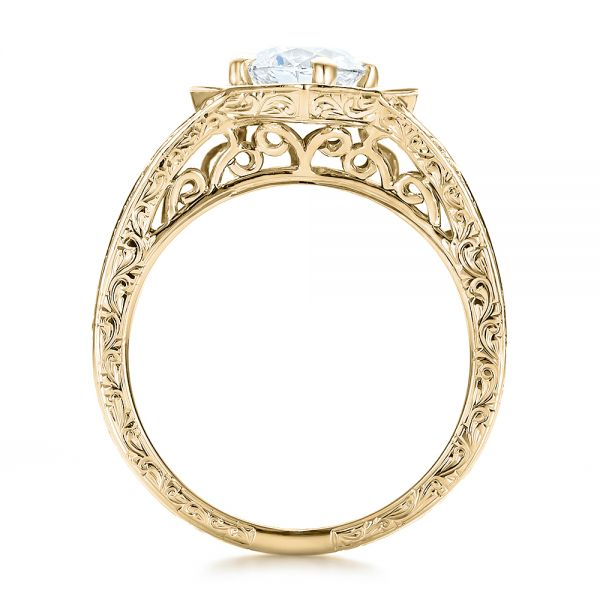 18k Yellow Gold 18k Yellow Gold Custom Diamond Halo And Hand Engraved Engagement Ring - Front View -