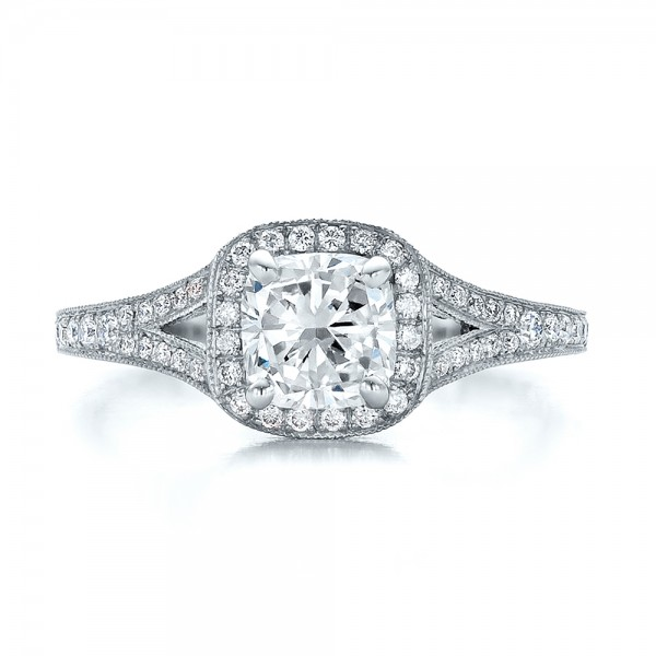 Custom Diamond Halo and Hand Engraved Engagement Ring - Top View