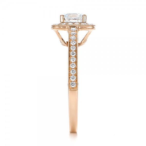 Custom Diamond Halo and Rose Gold Engagement Ring - Side View