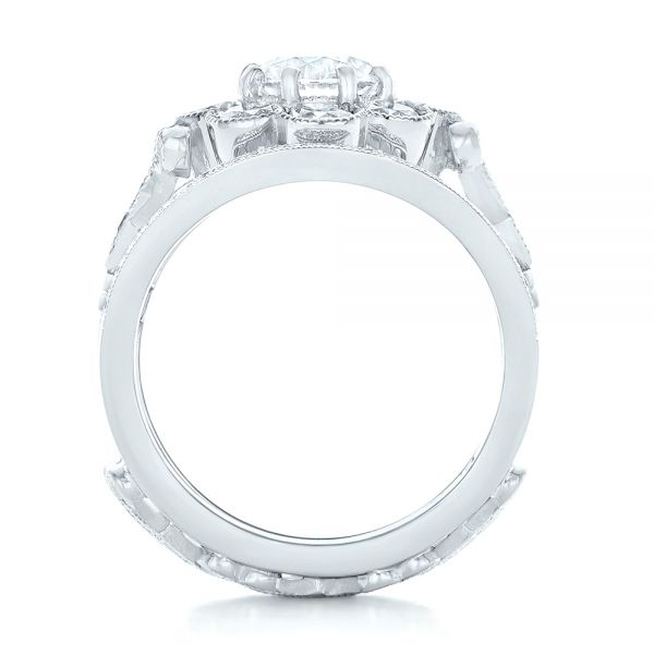 Custom Diamond Interlocking Engagement Ring - Front View -  102845 - Thumbnail