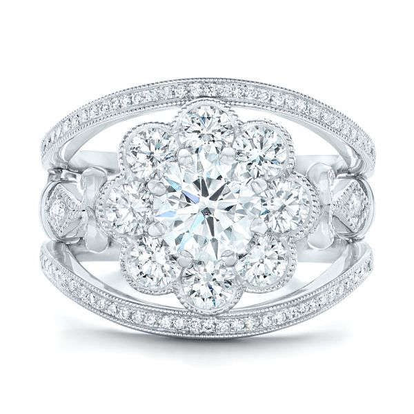 Custom Diamond Interlocking Engagement Ring - Top View -  102845 - Thumbnail