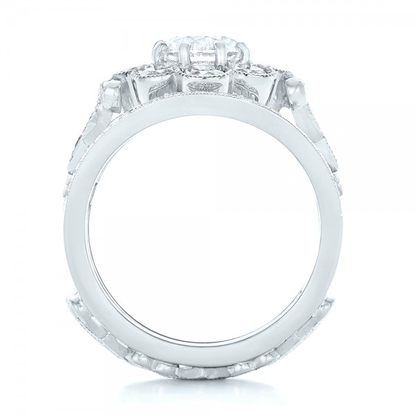 Custom Diamond Interlocking Engagement Ring - Finger Through View
