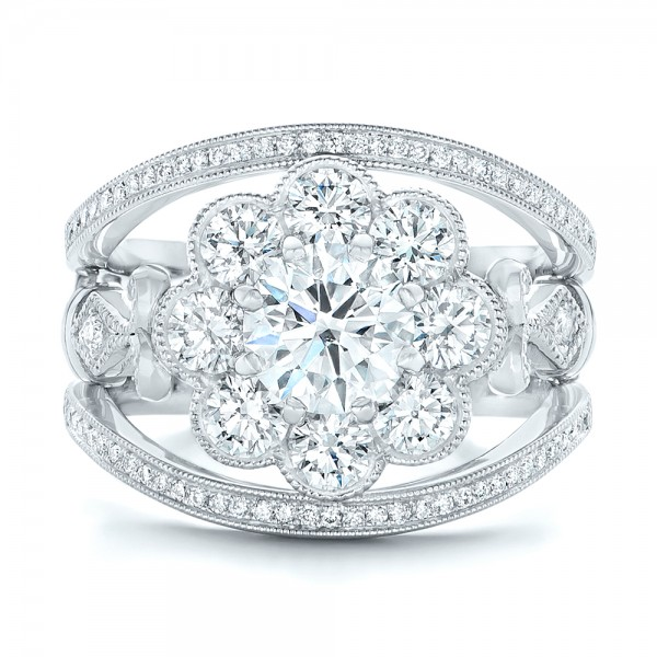 Custom Diamond Interlocking Engagement Ring - Top View