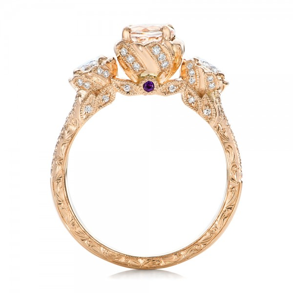 Custom Diamond, Morganite and Amethyst Engagement Ring - Finger Through View