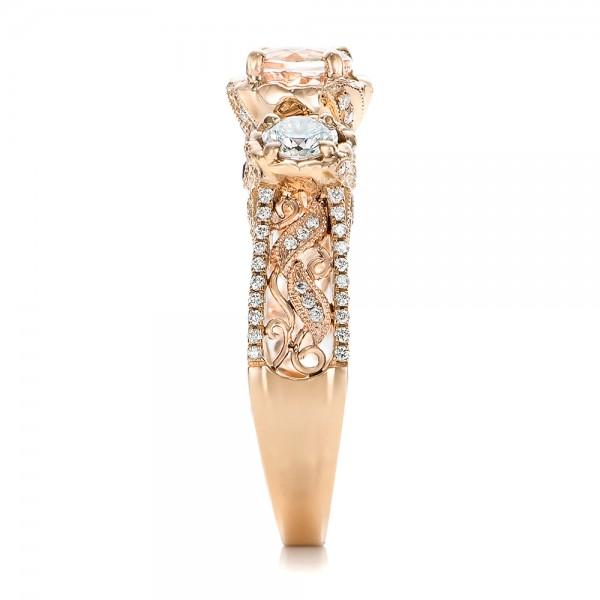 Custom Diamond, Morganite and Amethyst Engagement Ring - Side View