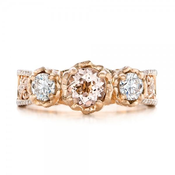 Custom Diamond, Morganite and Amethyst Engagement Ring - Top View
