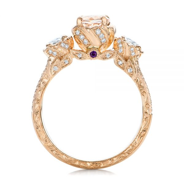 Custom Diamond, Morganite and Amethyst Engagement Ring - Front View -  102361 - Thumbnail