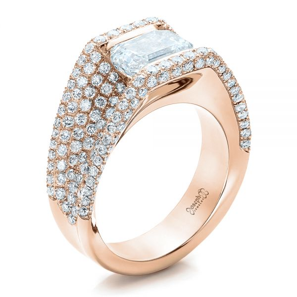 14k Rose Gold 14k Rose Gold Custom Diamond Pave Engagement Ring - Three-Quarter View -