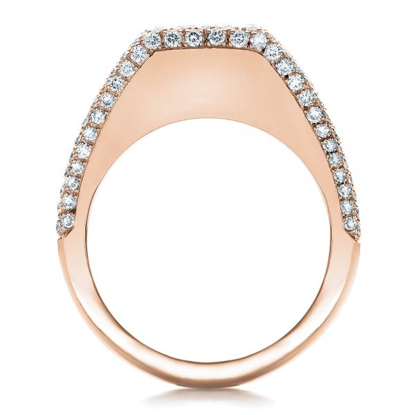 14k Rose Gold 14k Rose Gold Custom Diamond Pave Engagement Ring - Front View -