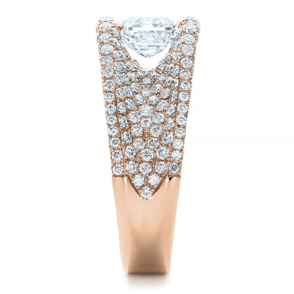 14k Rose Gold 14k Rose Gold Custom Diamond Pave Engagement Ring - Side View -