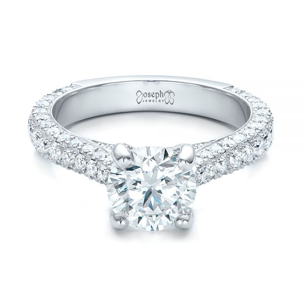 Custom Diamond Pave Engagement Ring - Flat View -  100853 - Thumbnail