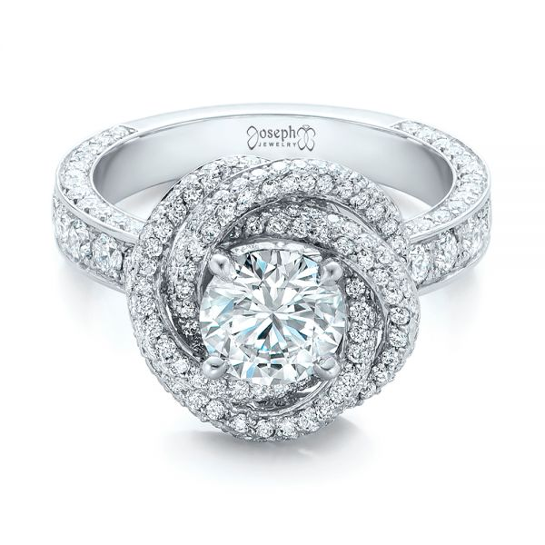 Platinum Custom Diamond Pave Engagement Ring - Flat View -