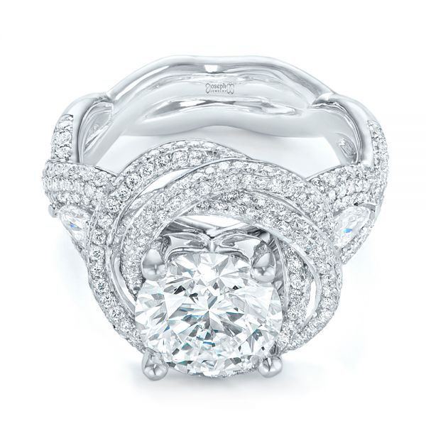Custom Diamond Pave Engagement Ring - Flat View -  103544 - Thumbnail