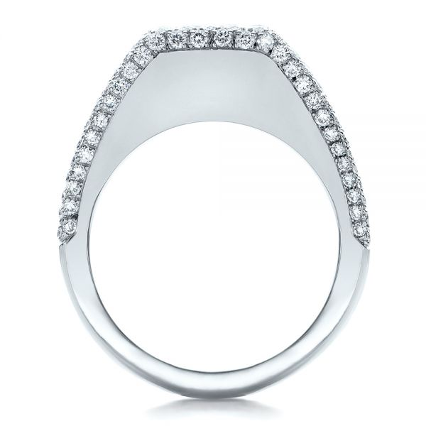 14k White Gold 14k White Gold Custom Diamond Pave Engagement Ring - Front View -