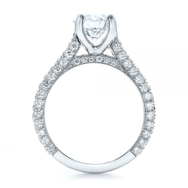 Custom Diamond Pave Engagement Ring - Front View -  100853 - Thumbnail