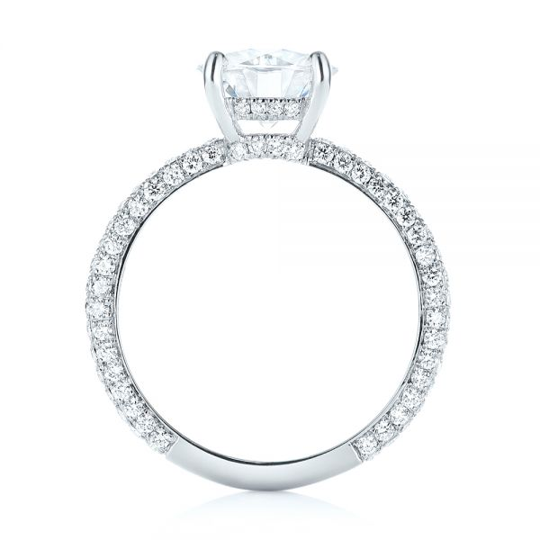 14k White Gold Custom Diamond Pave Engagement Ring - Front View -