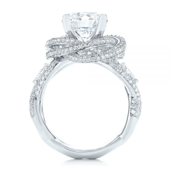 Platinum Custom Diamond Pave Engagement Ring - Front View -