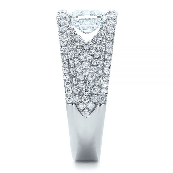 Platinum Custom Diamond Pave Engagement Ring - Side View -  100837