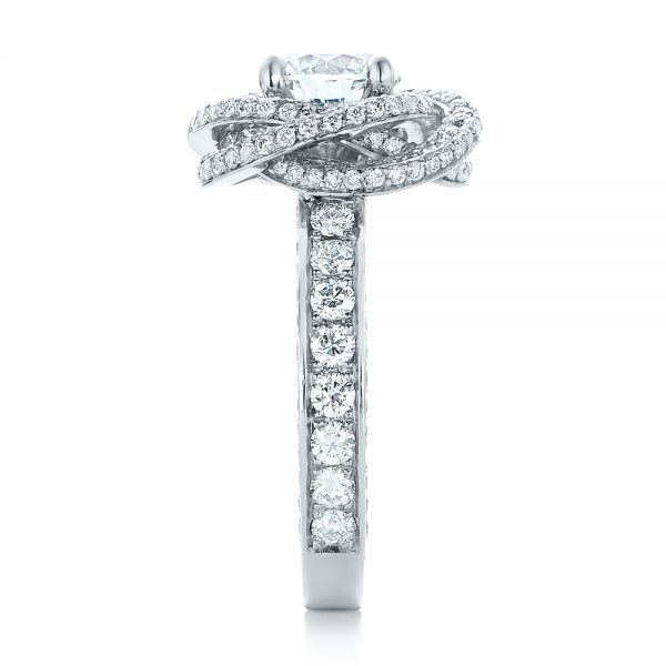 Platinum Custom Diamond Pave Engagement Ring - Side View -