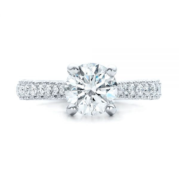 Custom Diamond Pave Engagement Ring - Top View -  100853 - Thumbnail