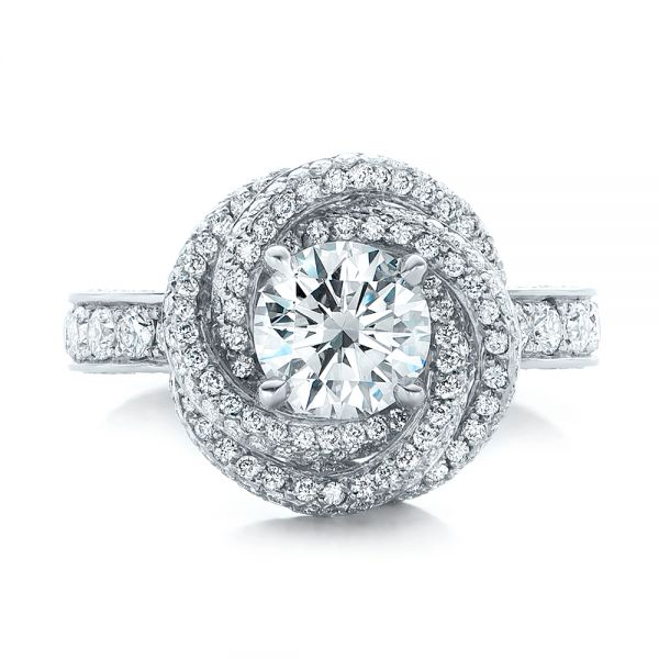 Platinum Custom Diamond Pave Engagement Ring - Top View -
