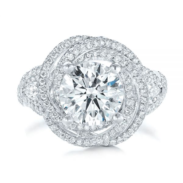 Custom Diamond Pave Engagement Ring - Top View -  103544 - Thumbnail