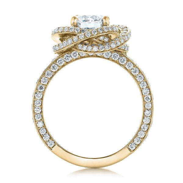 18k Yellow Gold 18k Yellow Gold Custom Diamond Pave Engagement Ring - Front View -  102179