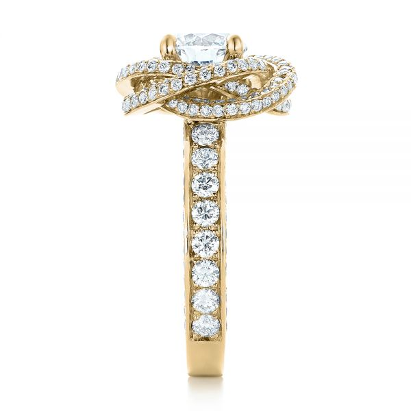 18k Yellow Gold 18k Yellow Gold Custom Diamond Pave Engagement Ring - Side View -  102179