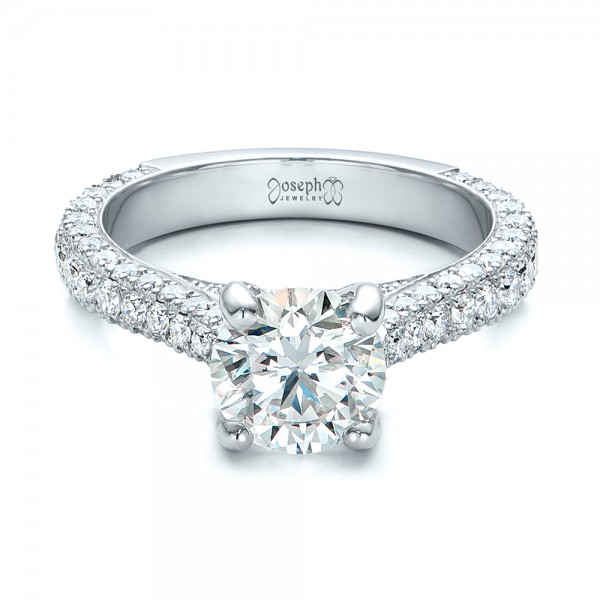Custom Diamond Pave Engagement Ring - Laying View