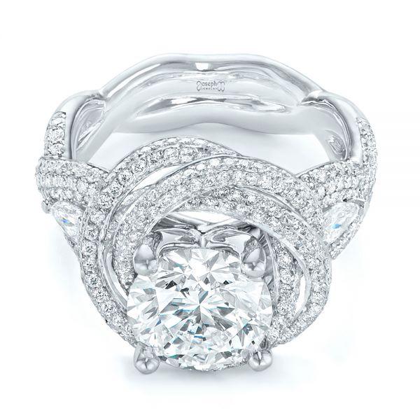 Custom Diamond Pave Engagement Ring - Laying View
