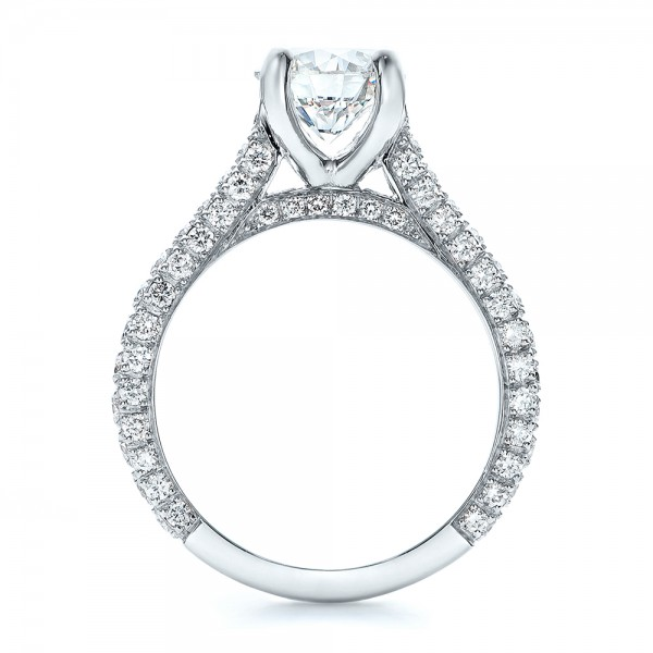 Custom Diamond Pave Engagement Ring - Finger Through View