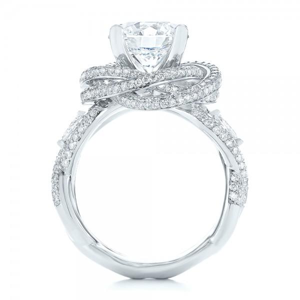Custom Diamond Pave Engagement Ring - Finger Through View