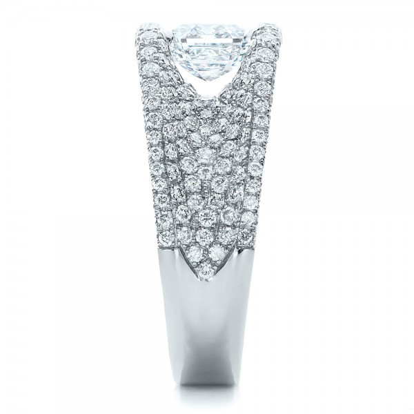 Custom Diamond Pave Engagement Ring - Side View