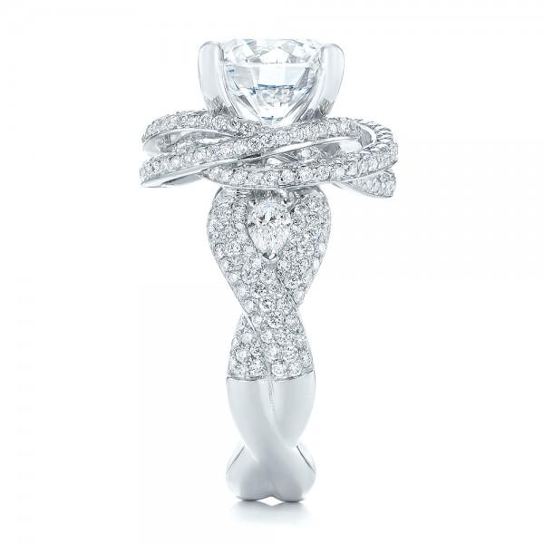 Custom Diamond Pave Engagement Ring - Side View