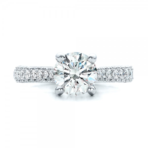 Custom Diamond Pave Engagement Ring - Top View