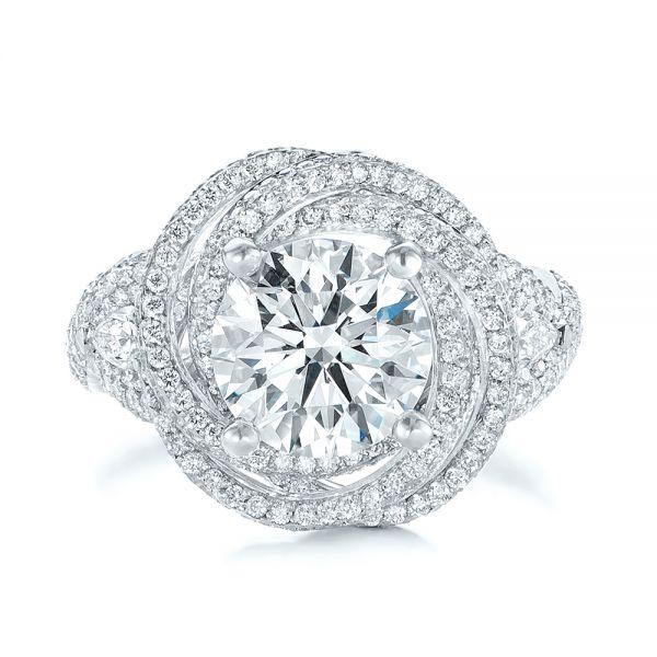 Custom Diamond Pave Engagement Ring - Top View