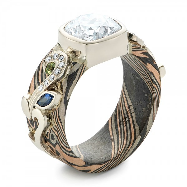 Custom diamond peridot blue sapphire and mokume for Nancy b fine jewelry