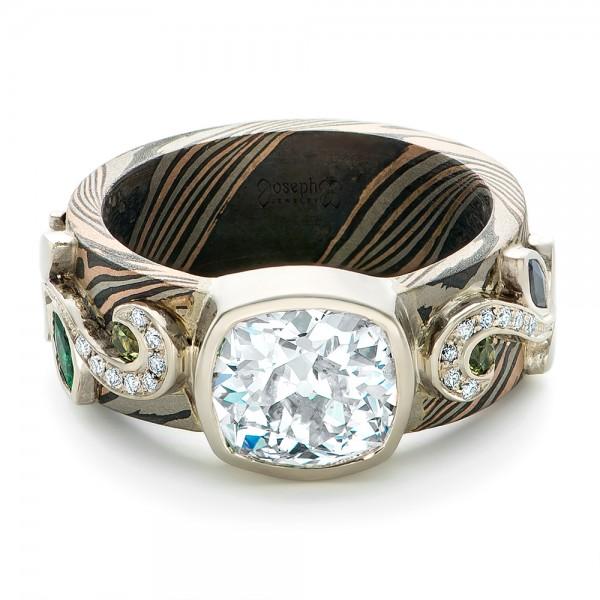 Custom Diamond, Peridot, Blue Sapphire and Mokume Engagement Ring - Laying View