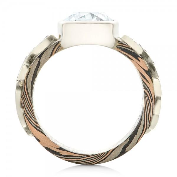 Custom Diamond, Peridot, Blue Sapphire and Mokume Engagement Ring - Finger Through View