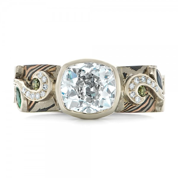 Custom Diamond, Peridot, Blue Sapphire and Mokume Engagement Ring - Top View